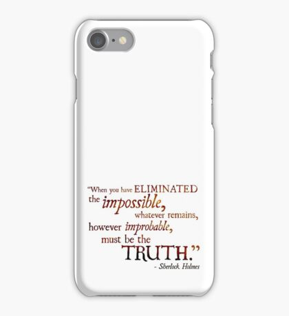 Sherlock Holmes - Eliminate the Impossible iPhone Case/Skin