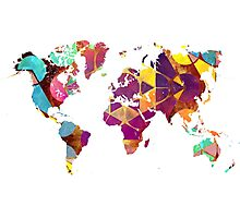 Map of the world geometric colored Photographic Print