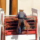 Bronco Rider Saddling Up by Val  Brackenridge