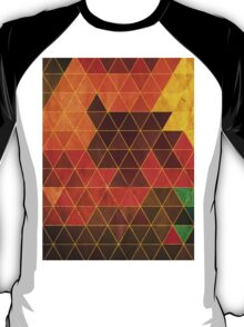 Vintage Retro Geometric Orange Brown Pattern T-Shirt