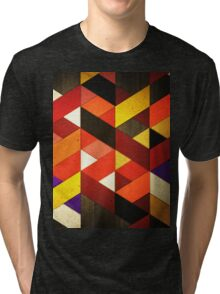 Vintage Retro Geometric Orange Brown Pattern Tri-blend T-Shirt