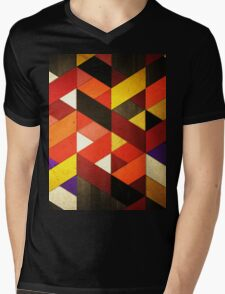 Vintage Retro Geometric Orange Brown Pattern Mens V-Neck T-Shirt