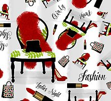 Fashion pattern, feather boa, lipstick, shopping by Glimmersmith