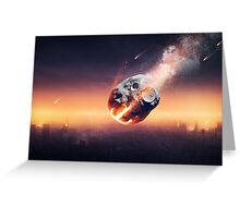 City destroyed by meteor shower Greeting Card