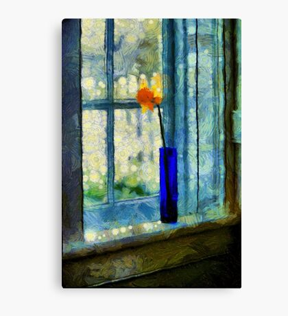 Blue Cobalt Vase With Daffodil Canvas Print