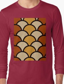 Vintage Retro Polkadot Brown Pattern Long Sleeve T-Shirt