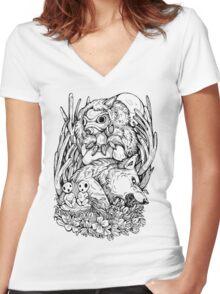 Mononoke Inks Women's Fitted V-Neck T-Shirt
