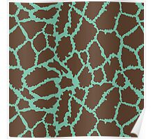 Blue Brown Leopard Skin Texture Poster