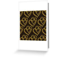 Brown Heart Pattern Greeting Card