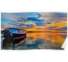 Houseboat Sunset Poster