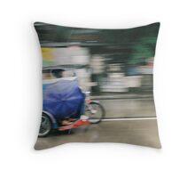 speeding tricycle Throw Pillow