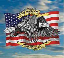 American Eagle and Flag by Doug LaRue