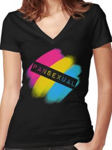 Pansexual Stripes Women's Fitted V-Neck T-Shirt