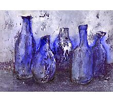 blue bottles Photographic Print
