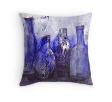 blue bottles Throw Pillow