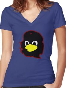 Linux tux Penguin Che guevara guerilla Women's Fitted V-Neck T-Shirt