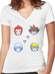Kingdom Hearts Shuffle- Group 1 Women's Fitted V-Neck T-Shirt