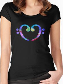 Music Heart  Notes Women's Fitted Scoop T-Shirt