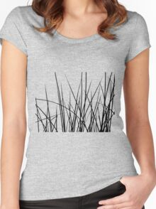 Water grass (black) (T-Shirt) Women's Fitted Scoop T-Shirt