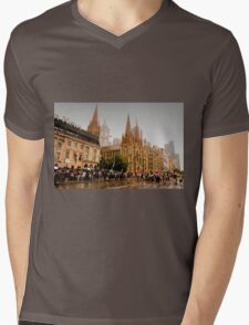 Melbourne in the Rain Mens V-Neck T-Shirt