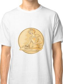 Homemaker Ironing Clothes Vintage Etching Classic T-Shirt