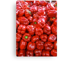 A pile of red peppers Canvas Print