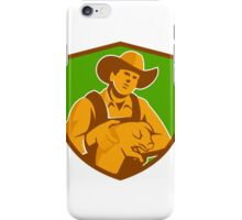 Pig Farmer Holding Piglet Front Shield Retro iPhone Case/Skin