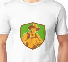 Pig Farmer Holding Piglet Front Shield Retro Unisex T-Shirt