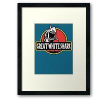 Great White Shark Jurassic Parody T Shirt Framed Print