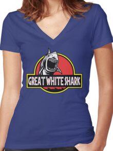 Great White Shark Jurassic Parody T Shirt Women's Fitted V-Neck T-Shirt