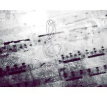Music! Treble clef with Grunge Vintage Texture - DJ Retro Music Art Prints - iPhone and iPad Cases Photographic Print