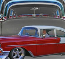 Multiple Red and White Chevy Belair Abstract Sticker