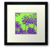 Makena Beach Hawaiian Sketchy Palms - Purple and Lime Green Framed Print