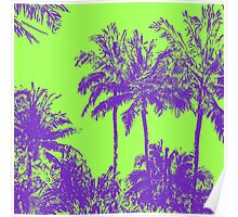 Makena Beach Hawaiian Sketchy Palms - Purple and Lime Green Poster