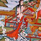 sky goer. tibetan painting, northern india by tim buckley   bodhiimages