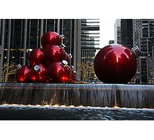 A Christmas Card from New York City - Manhattan Skyline Reflecting in Giant Red Balls Photographic Print