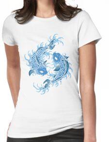 Blue Koi Fish T Shirt Womens Fitted T-Shirt
