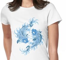 Blue Koi Fish T Shirt Womens Fitted T-Shirt
