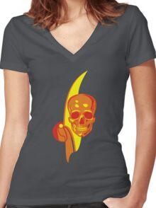 Hot Skull  Women's Fitted V-Neck T-Shirt