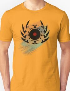 Retro Vinyl Records Music - Vinyl With Paint and Tribal Spikes - DJ TShirt T-Shirt