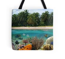 Tropical beach and underwater marine life Tote Bag