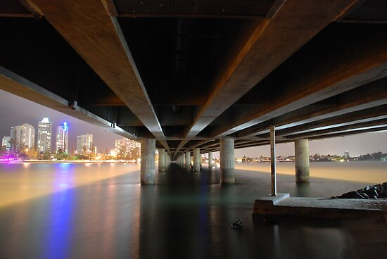 Under the Gold Coast bridge at night by Graham Mewburn