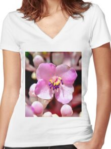 Lone Pink Flower Bloom  Women's Fitted V-Neck T-Shirt