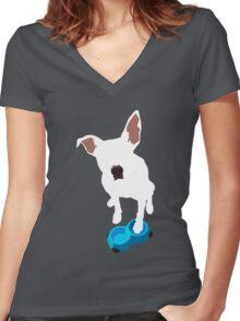 Puppy Desires Dinner Women's Fitted V-Neck T-Shirt