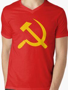 Communism - Soviet Union - Hammer Sickle Star Mens V-Neck T-Shirt