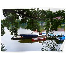Lake with Canoes Poster