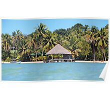 Tropical beach with thatched hut over the water Poster