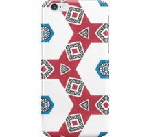 Red and Blue Hexagon Tribal Print iPhone Case/Skin
