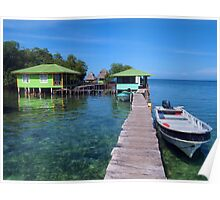 Tropical resort over the water with boat at dock Poster