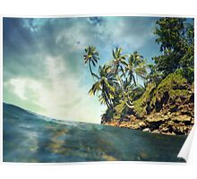 Coconut trees with sunlight viewed from sea surface Poster